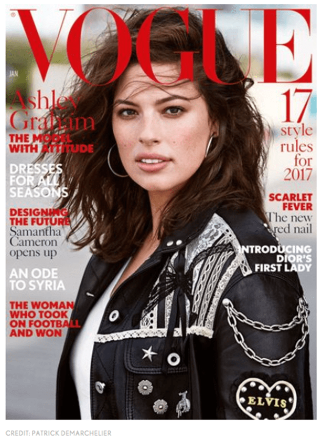 "Ashley Graham Is First Plus-Size Model to Cover British ""Vogue"""