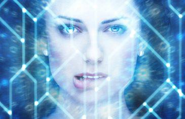 Sexy female robot bite lips portrait artificial intelligence