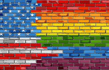 Brick Wall USA and Gay flags - Illustration, Rainbow flag on brick textured background, Flag of gay pride movement painted on brick wall, Abstract grunge United States of America flag and LGBT flag