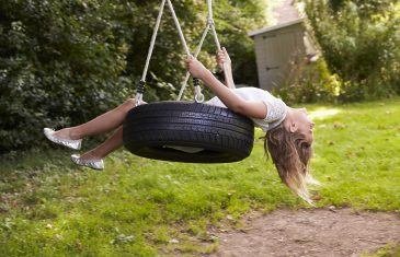 Young Girl Playing On Tire Swing In Garden