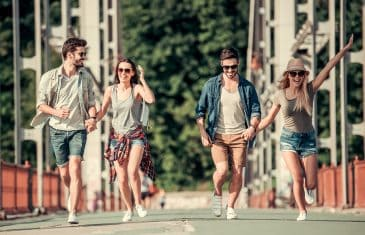 Young People Walking Outdoors