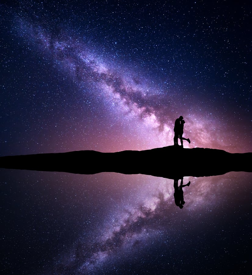 Purple milky way with lovers