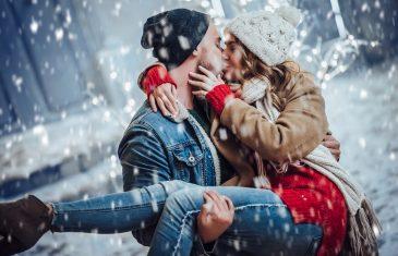 romantic coupleoutdoors in winter