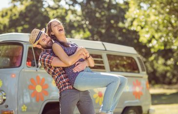 Hipster couple having fun