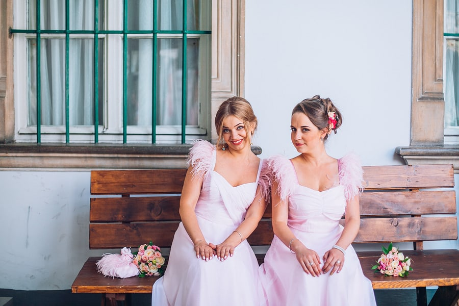 Stylish bridesmaids having fun
