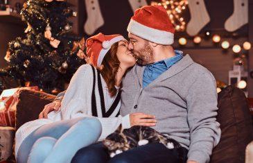 Happy Couple Celebrating Christmas Eve