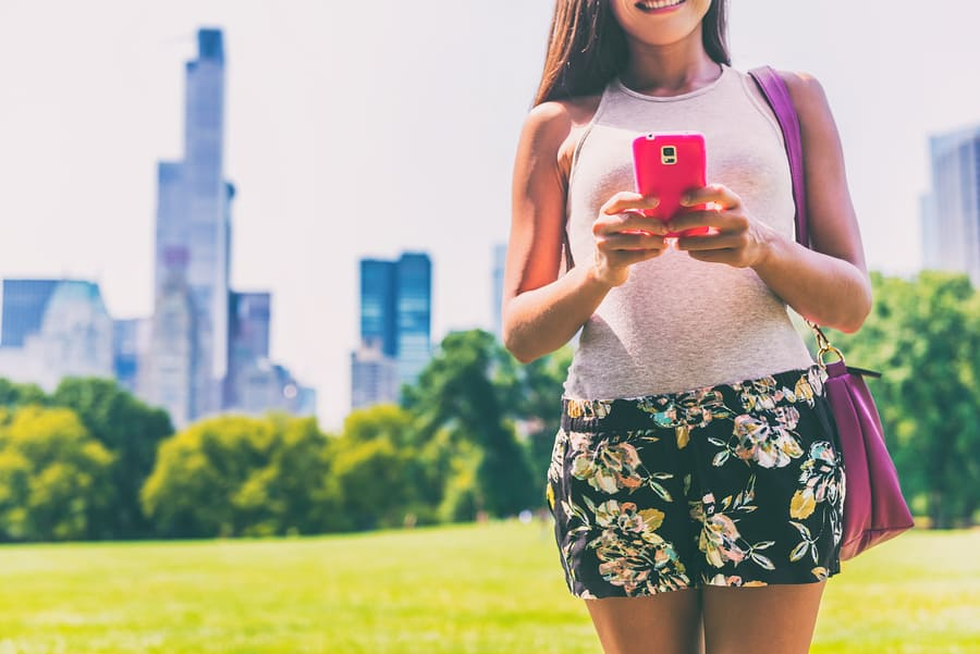 Smartphone app woman texting