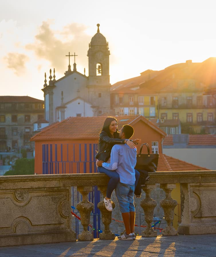 Romantic Couple At Sunset In Porto, Portugal