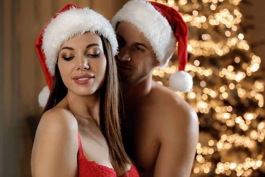 sexy couple at christmas